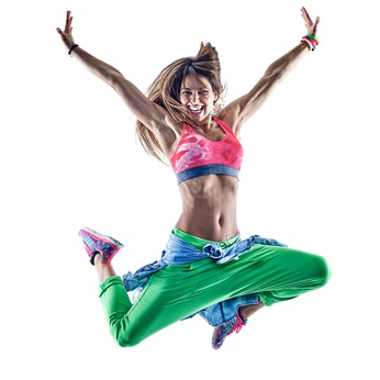 one caucasian woman exercising fitness excercises zumba  dancer dancing in studio isolated on white background